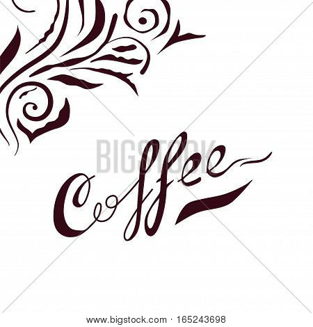 Coffee lettering. Hand drawn letters with floral design elements on background. Black on white