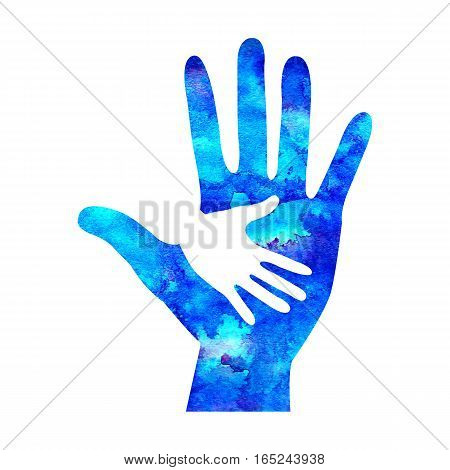 Watercolor logo illustration. Symbol of Charity. Sign hand isolated on white background.Blue Icon company, web, card, print.Modern bright element. Charity for orphans Help kids campaign.image logotype