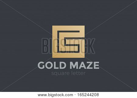 G letter Logo design vector template. Square Maze labyrinth Logotype concept.
