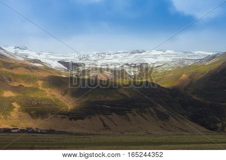 Iceland natural snow covered mountain landscape during winter season