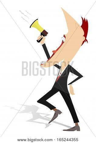 Announcement illustration. Cartoon man shouts to megaphone