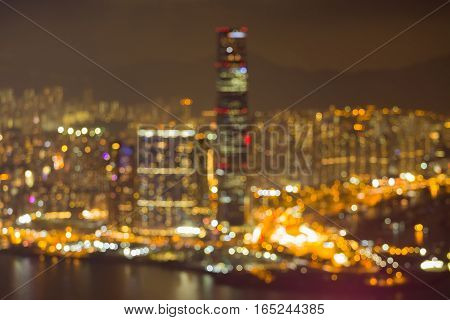City blurred lights aerial view at night abstract background Hong Kong city