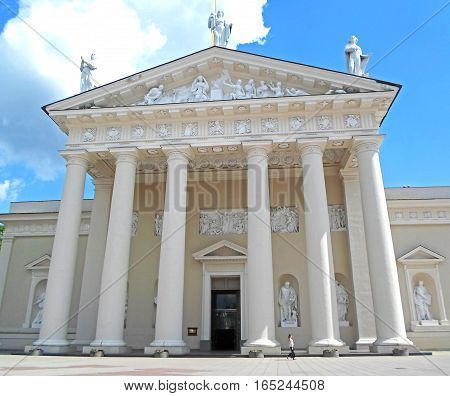 Facade of the Cathedral Basilica of St. Stanislaus and St. Vladislav on the Cathedral Square in Vilnius, Lithuania
