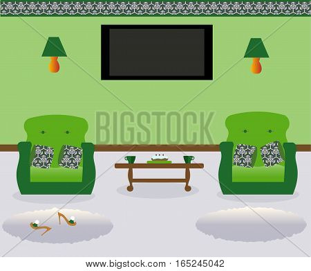 A living room with a coffee table.Lamps on the wall. Two armchairs witn colored decorative pillows. Сarpets. Sexy cute slippers with high heels. Flat screen TV.Vector illustration.