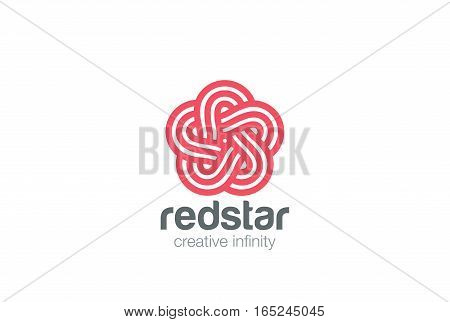 Star Abstract Logo infinite looped shape design vector template. Linear Logotype concept.