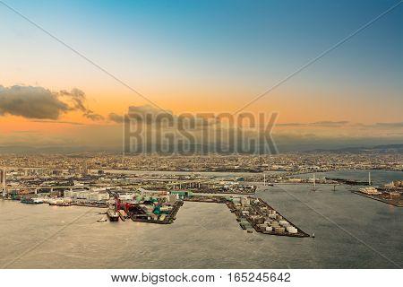Osaka bay aerial view from the Cosmo tower at Osaka Japan
