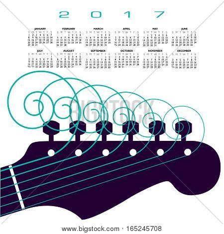 A 2017 calendar with a guitar with curly strings for print or web use