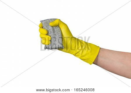 Cleaning conept - hand cleaning with metal teflon cleaning sponge. Isolated on white background