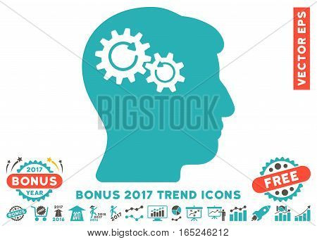 Grey And Cyan Head Wheels Rotation icon with bonus 2017 year trend design elements. Vector illustration style is flat iconic bicolor symbols white background.