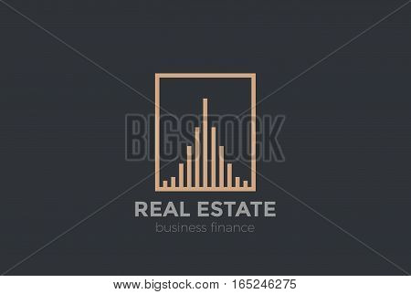 Real Estate Logo Luxury design Skyscrapers vector template Linear style. Realty Construction Logotype concept icon