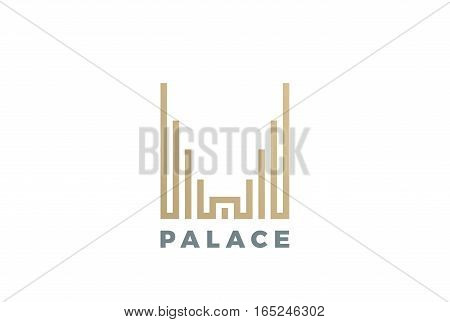 Luxury Hotel Palace Logo design vector template Linear style. Real Estate Construction Logotype concept icon