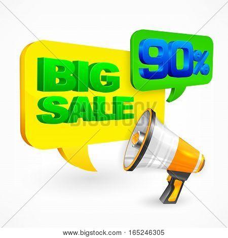 Big sale inscription on speech bubble & megaphone vector illustration
