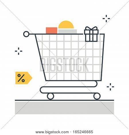 Color Line, Shopping Cart Illustration Concept Illustration, Icon