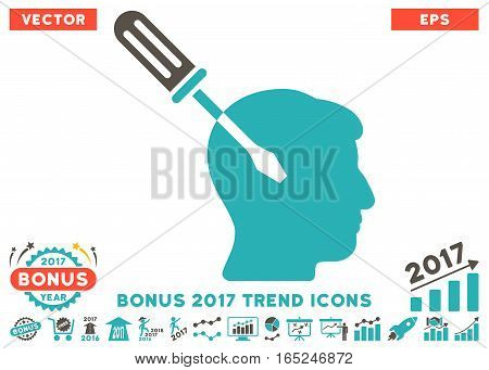 Grey And Cyan Intellect Screwdriver Tuning pictograph with bonus 2017 trend design elements. Vector illustration style is flat iconic bicolor symbols white background.