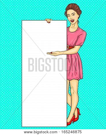 Vector illustration pop art Chinese, Korean girl showing ads, information, sale announcement