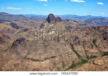 Spectacular rock formation in the Superstition Mountains known as Weaver's Needle