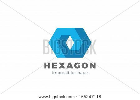 Corporate Business geometric impossible abstract Logo design vector template. Hexagon looped infinity shape Logotype concept icon.