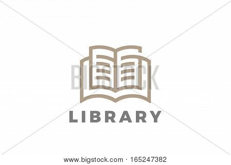 Book Logo Education Library design vector template Linear style.