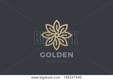 Gold Star Flower Logo design Infinity loop vector template. Luxury Jewelry Fashion Logotype concept icon.