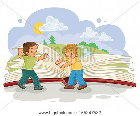 Vector illustration of little boys turn pages great book, read the book of life. Metaphor