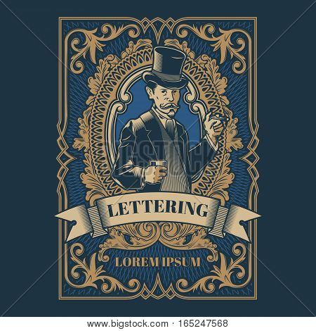 Vector vintage gentleman emblem, label, signage and sticker