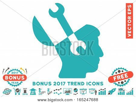 Grey And Cyan Mind Wrench Tools pictograph with bonus 2017 year trend design elements. Vector illustration style is flat iconic bicolor symbols white background.