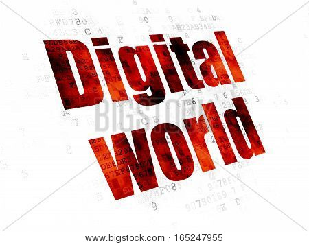 Data concept: Pixelated red text Digital World on Digital background