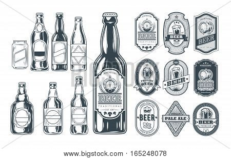 Vector black-white set of different icons beer bottles and label them