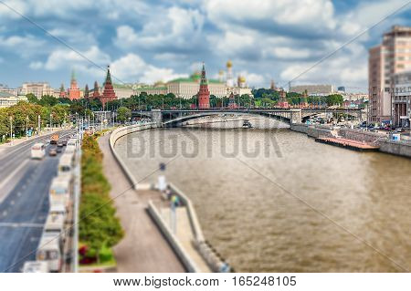 Aerial View Over Moskva River And The Kremlin, Moscow, Russia