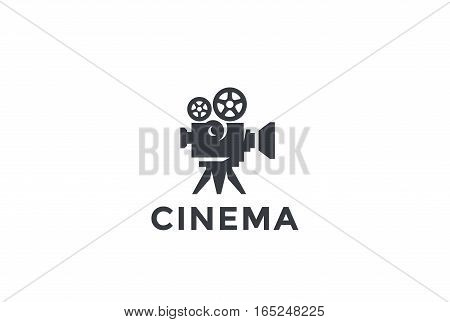 Cinema Old classic Camera Logo design vector template. Film Video service company Logotype concept icon.