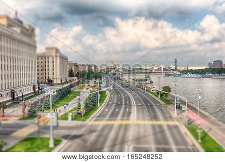 Aerial View Over Moskva River From Pushkinsky Pedestrian Bridge, Moscow
