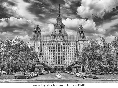Lomonosov State University Building In Moscow, Russia