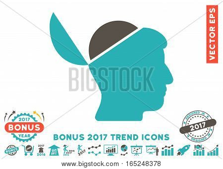 Grey And Cyan Open Brain pictograph with bonus 2017 year trend design elements. Vector illustration style is flat iconic bicolor symbols white background.