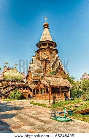 Wooden Church Inside The Complex Izmailovskiy Kremlin In Moscow, Russia