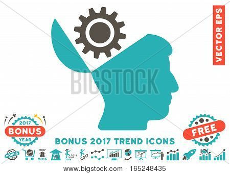 Grey And Cyan Open Head Gear icon with bonus 2017 trend symbols. Vector illustration style is flat iconic bicolor symbols white background.