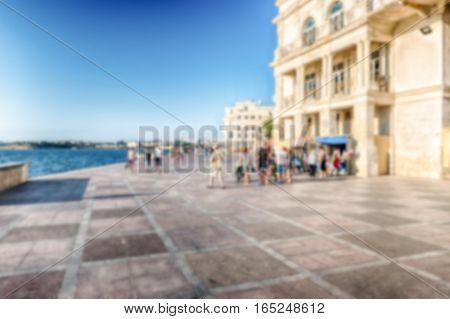 Defocused Background With Primorsky Boulevard, Scenic Waterfront Of Sevastopol, Crimea