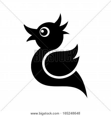 Black vector tweet bird icon isolated on white