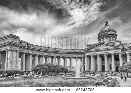 ST. PETERSBURG RUSSIA - AUGUST 26: Kazan Cathedral in St.Petersburg Russia on August 26 2016. It was modelled by Andrey Voronikhin after the St. Peter's Basilica in Rome