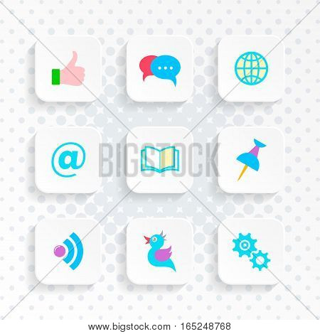 Vector white web buttons with social media icons