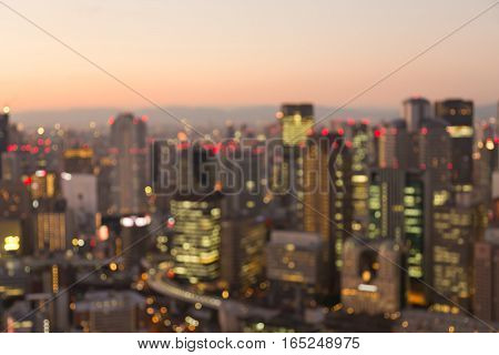 Blurred lights Osaka city downtown abstract background