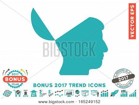 Grey And Cyan Open Mind pictograph with bonus 2017 year trend clip art. Vector illustration style is flat iconic bicolor symbols white background.