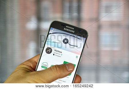 MONTREAL CANADA - DECEMBER 23 2016 : Google Myglass on Samsung S7 screen. Google's MyGlass is a companion app that lets Explorers configure and manage Glass.