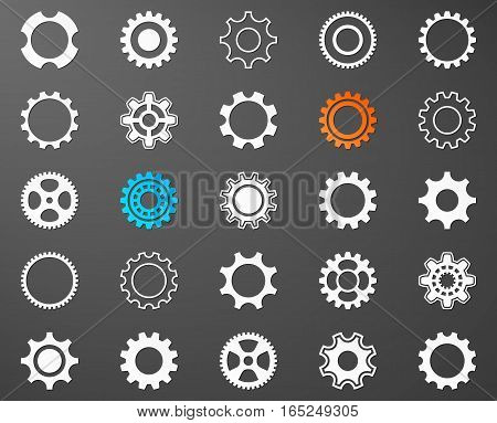 Collection of white gear wheel icons on dark