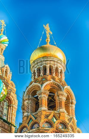 Scenic view of the Church of the Savior on Spilled Blood iconic landmark in St. Petersburg Russia