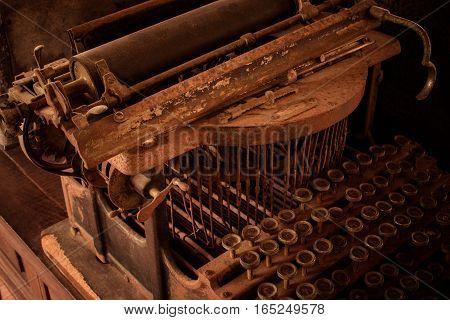 Thai Key Board Of Antique Typewriter Machine With Vintage Retro Styled On Desk.