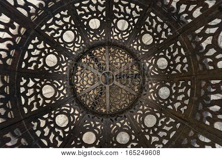 Decorated ornate steel as rustic background texture