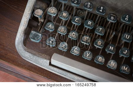 Antique Typewriter, Vintage Typewriter Machine With Vintage Retro Styled On Desk.