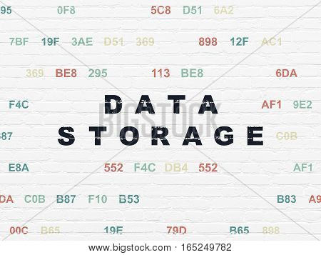 Data concept: Painted black text Data Storage on White Brick wall background with Hexadecimal Code