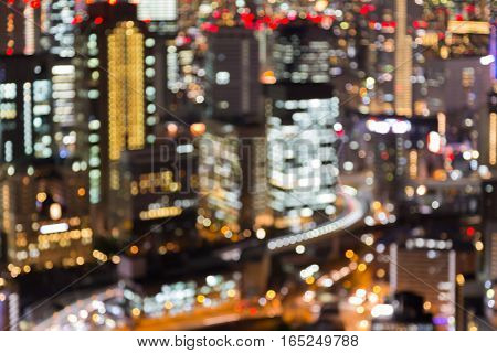 Abstract blurred bokeh lights Osaka city lights night view
