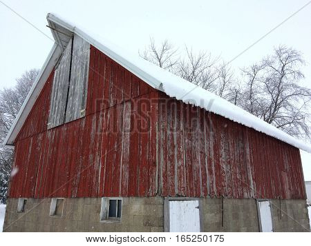 First snowfall and a 100 year old barn in rural Illinois.
